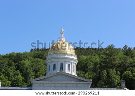 Vermont State House Dome in Montpelier, VT - stock photo