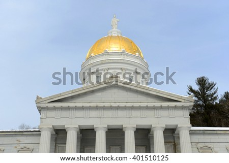 Vermont State House in winter, Montpelier, Vermont, USA. Vermont State House is Greek Revival style built in 1859. - stock photo