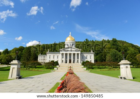 Vermont State House, Montpelier, Vermont, USA. Vermont State House is Greek Revival style built in 1859. - stock photo