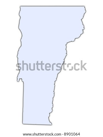 Vermont Usa Light Blue Map With Shadow High Resolution Mercator Projection