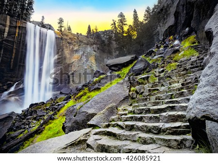 Vernal Falls at Dawn, Yosemite National Park, California USA - stock photo