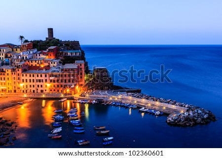 Vernazza Castle and Harbor at Early Morning in Cinque Terre, Italy - stock photo