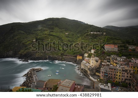 Vernazza (Cinque Terre), View of the City from Castello Doria in Italy (Long Exposure)