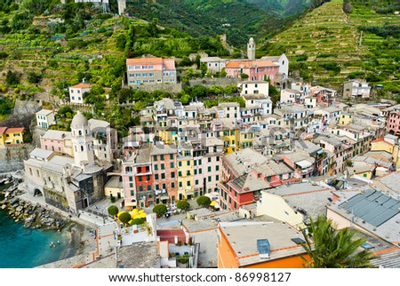Vernazza fisherman village in the Cinque Terre, landmark of Italy