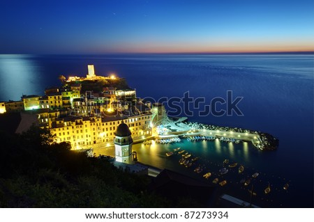 Vernazza fishing village by night, Cinque Terre, Italy - stock photo