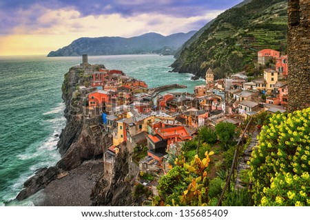 Vernazza in Cinque Terre, Italy, on sunset - stock photo
