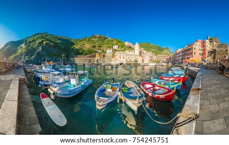 VERNAZZA, IT - JUNE 27, 2016: Vernazza village within Cinque Terre in Liguria Region, Northern Italy.
