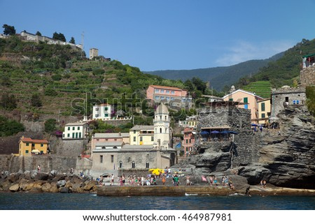 VERNAZZA, ITALY - JUL 06, 2016: A view of village on cliffs from boat, Cinque Terre National Park, Liguria, Italy