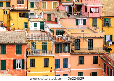VERNAZZA, ITALY - MAY 5, 2016: Aerieal view of Vernazza (Vulnetia), a small town in province of La Spezia, Liguria, Italy. It's one of the lands of Cinque Terre, UNESCO World Heritage Site