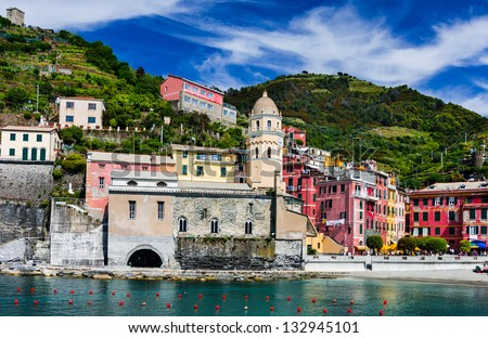Vernazza small fishing village on Cinque Terre. This is a picturesque attraction sight of Italy. - stock photo