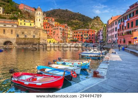 Vernazza town on the coast of Ligurian Sea, Italy - stock photo