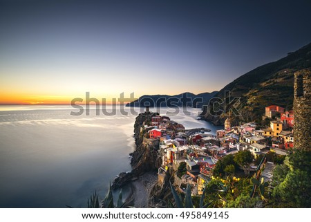 Vernazza village, aerial view on sunset, Seascape in Five lands, Cinque Terre National Park, Liguria Italy Europe.
