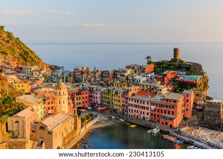 Vernazza village at sunset, Cinque Terre National Park, Liguria Italy.