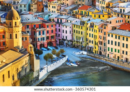 Vernazza village, church and buildings aerial view. Seascape in Five lands, Cinque Terre National Park, Liguria Italy Europe. Long Exposure. - stock photo