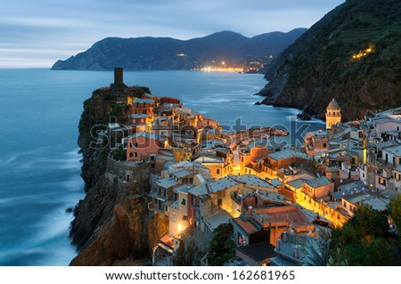 Vernazza village in Cinque Terre, Italy - stock photo