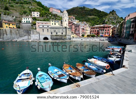 Vernazza village in the Cinque Terre, landmark of Italy - stock photo
