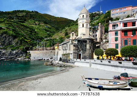 Vernazza village in the Cinque Terre, landmark of Italy