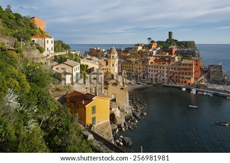 Vernazza village on cliff rocks and sea, Seascape in Five lands, Cinque Terre National Park, Liguria, Italy, Europe.  - stock photo