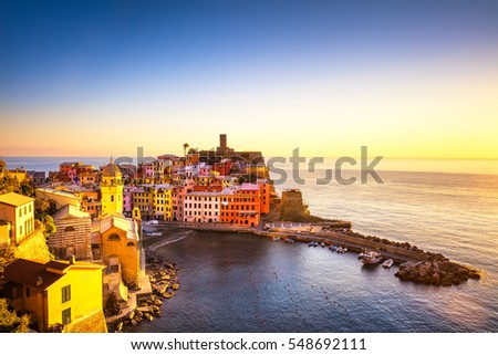 Vernazza village, panoramic view on red sunset. Cinque Terre National Park, Liguria Italy Europe.