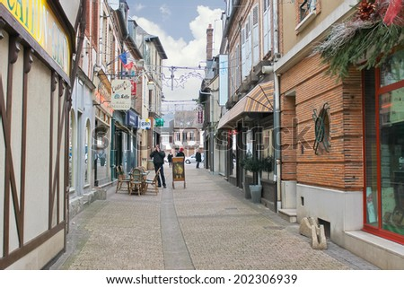 VERNEUL SUR AVRE, FRANCE - DECEMBER 29, 2012 : On the streets  in Verneuil-sur-Avre. France