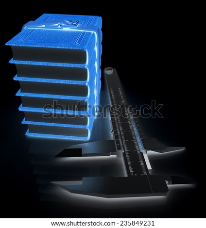 Vernier caliper and leather professional books. Best professional knowledge concept on a black background - stock photo