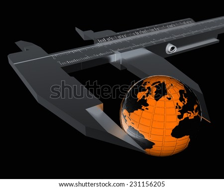 Vernier caliper measures the Earth. Global 3d concept on a black background - stock photo