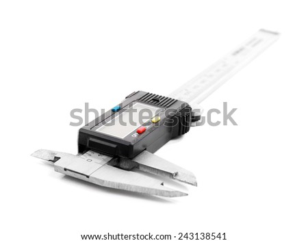 Vernier caliper (slide gauge) isolated on white - stock photo