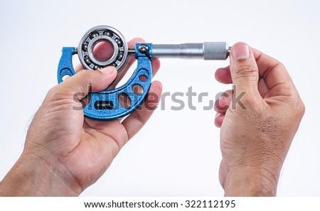 Vernier caliper tool isolated on white background. - stock photo