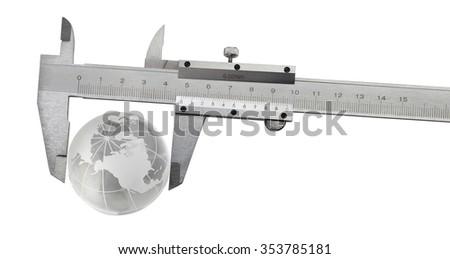 Vernier caliper with earth globe  - stock photo