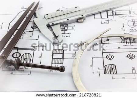 vernier calipers Drawing on the paper Mechanical