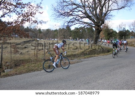 VERNON, FRANCE - MAR 01: Guillaume Bonnafond, AG2R, riding La Classic Sud Ardeche UCI Europe Tour Pro Race on March 01, 2014 in Versas Hill, Ardeche, France. Florian Vachon won the race. - stock photo