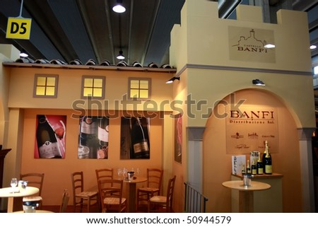 VERONA - APRIL 08: Close-up of Banfi castle wines stand, Tuscany pavilion at Vinitaly, international wine and spirits exhibition April 08, 2010 in Verona, Italy.