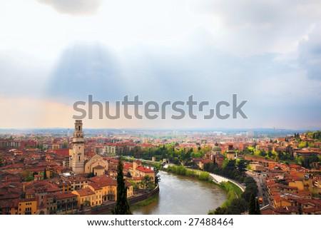 Verona city landscape, Italy - stock photo
