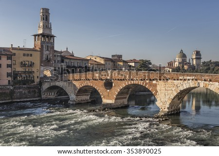 Verona, Italy - Adige River with Stone Bridge - stock photo