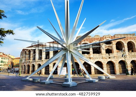 VERONA, ITALY - DECEMBER 15: At Christmas time, in Verona city is assembled a comet, designed by architect Rinaldo Olivieri: 70 meters high, weighing 78 tons on December 15, 2015 in Verona, Italy