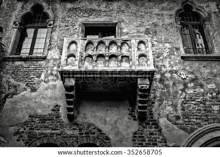 VERONA, ITALY - DECEMBER 01, 2015: Balcony of the house of the legendary Shakespeare's Juliet