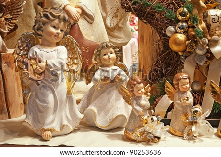 VERONA, ITALY - DECEMBER 3: Christmas market stall with many Christmas decorations on December 3, 2011 in Verona, Italy. - stock photo
