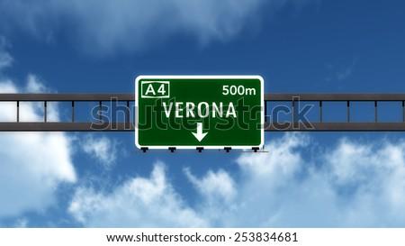 Verona Italy Highway Road Sign 3D Illustration - stock photo