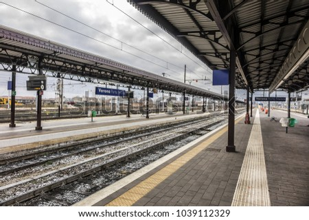 VERONA, ITALY - JANUARY 07, 2018: View Verona Porta Nuova train station. The primary train station in the Veneto city of Verona is Verona Porta Nuova, opened in 1852.