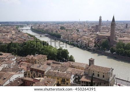 VERONA, ITALY - JULY, 2, 2016: Panorama of Verona, Italy
