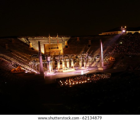 VERONA, ITALY - JULY 22: Performance of opera Aida in the ancient roman amphitheater on July 22, 2009 in Verona, Italy.