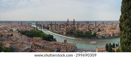 VERONA, ITALY - JULY 13: Stitched panorama of Verona seeing from San Pietro castle. July 13, 2015 in Verona. - stock photo