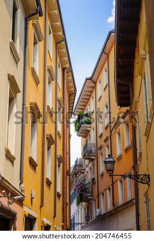 VERONA, ITALY - JUN 26, 2014: Architecture of the  old town of Verona, Italy. City of Verona is a UNESCO World Heritage site