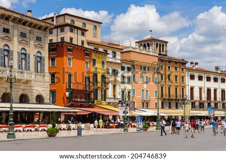 VERONA, ITALY - JUN 26, 2014: Piazza Bra, the largest square in Verona, Italy. City of Verona is a UNESCO World Heritage site
