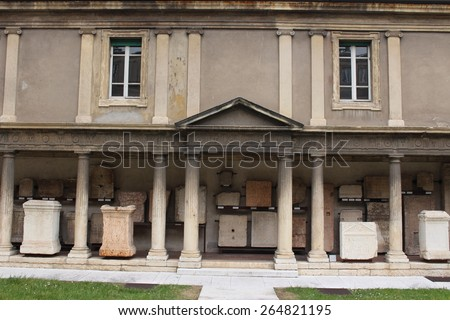 VERONA, ITALY - MARCH 18: Left part of the Museo Lapidario Maffeiano at Piazza Bra on March 18, 2015 in Verona. The museum was founded in 1745 by Scipione Maffei, an eminent Veronese literary man.