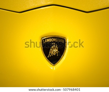 lamborghini bull logo. verona italy may 09 2015 the lamborghini logo shows a bull or
