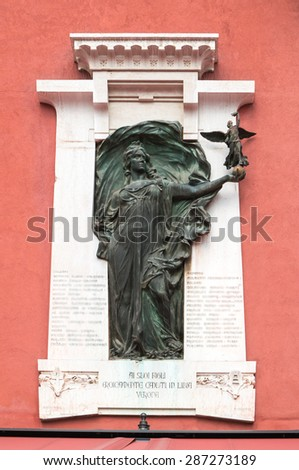 Verona, Italy - Plaque to commemorate those killed in the Libyan war in 1911-1912 - stock photo