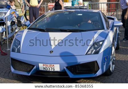 VERONA, ITALY - SEPTEMBER 10: Italian police display their fastest car on September 10, 2011, Verona, Italy. This Lamborghini was on show in 'Piazza Bra'. - stock photo