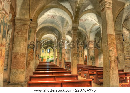 VERONA, ITALY - SEPTEMBER 29: The lower church of San Fermo Maggiore on September 29, 2014 in Verona.