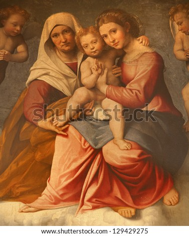 VERONA - JANUARY 28: Paint of Madonna with the child and st. Ann by Francesco Caroto from year 1528 from church San Fermo Maggiore on January 28, 2013 in Verona, Italy - stock photo